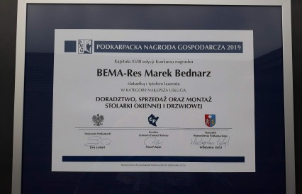BEMA-RES laurelatem Podkarpackiej Nagrody Gospodarczej